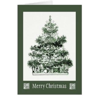 Antike Weihnachtsbaum-Karte Grußkarte