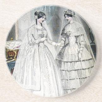 Antike weiße Hochzeits-Kleider Sandstein Untersetzer