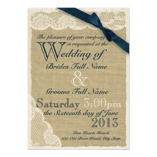 Antike weiße Spitze-Land-Hochzeits-Marine Personalisierte Einladung