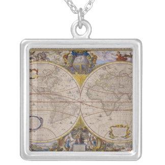 Antike Weltkarte 2 Halskette Mit Quadratischem Anhänger