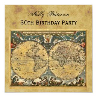Antike Weltkarte, beunruhigt BG-QUADRAT-Geburtstag Quadratische 13,3 Cm Einladungskarte