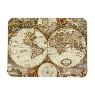 Antike Weltkarte, C. 1680. Durch Frederick de Wit Magnet