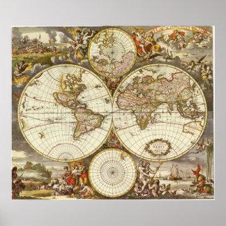 Antike Weltkarte, C. 1680. Durch Frederick de Wit Plakatdruck