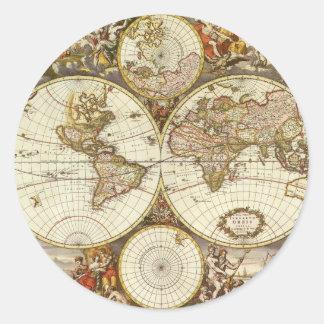 Antike Weltkarte, C. 1680. Durch Frederick de Wit Runder Aufkleber