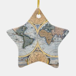 Antike Weltkarte cool Keramik Stern-Ornament