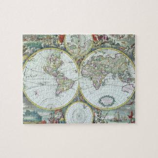 Antike Weltkarte des 17. Jahrhunderts, Frederick Puzzle