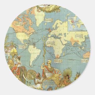 Antike Weltkarte des Britischen Imperiums, 1886 Runder Aufkleber