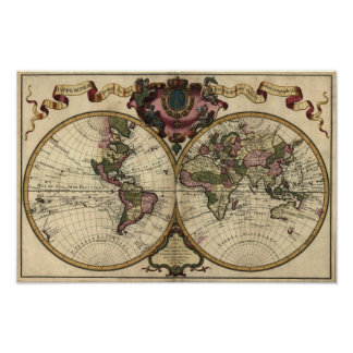 Antike Weltkarte durch Guillaume de L'Isle, 1720 Poster