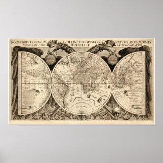 Antike Weltkarte durch Philipp Eckebrecht - 1630 Poster