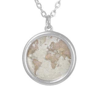 Antike Weltkarte Halskette Mit Rundem Anhänger