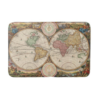 Antike Weltkarte in zwei Hemisphären Badematten