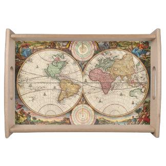 Antike Weltkarte in zwei Hemisphären Tablett