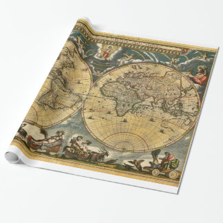 Antike Weltkarte J. Blaeu 1664 Einpackpapier