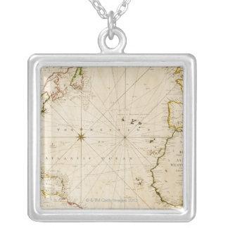 Antike Weltkarte Versilberte Kette