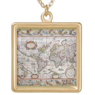 Antike Weltkartehalskette Halskette Mit Quadratischem Anhänger