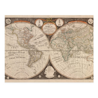 Antike Welts-Karte 1799 Postkarte
