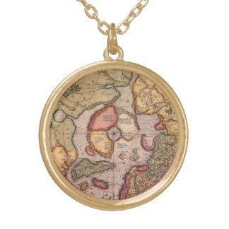 Antike Welts-Karte, Arktis Nordpol, 1595 Halskette Mit Rundem Anhänger