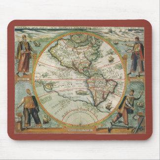 Antike Welts-Karte des Amerikas, 1597 Mousepad