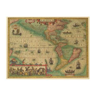 Antike Welts-Karte des Amerikas, 1606 Holzleinwand