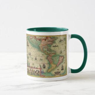 Antike Welts-Karte des Amerikas, 1606 Tasse