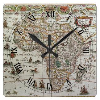Antike Welts-Karte von Afrika, C. 1635 Quadratische Wanduhr