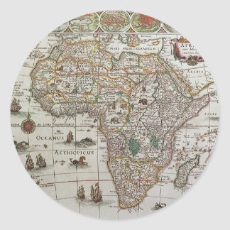 Antike Welts-Karte von Afrika, C. 1635 Runder Aufkleber