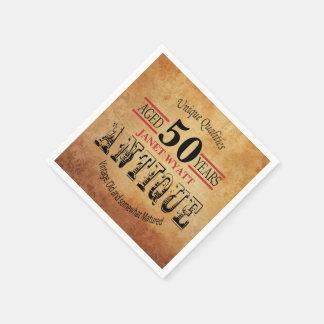 Antiken-50. Geburtstags-Entwurf Servietten