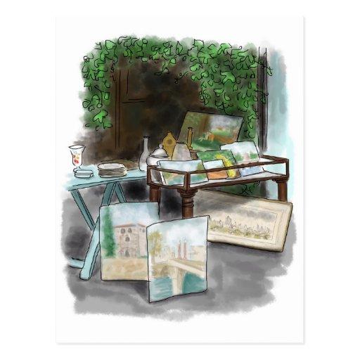 Antiken an der Paris-Flohmarkt-Postkarte