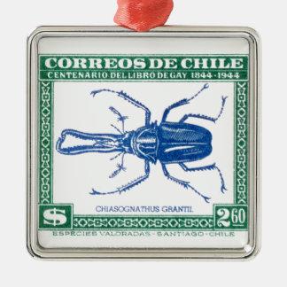 Antiken-Chile-Hirsch-Käfer-Porto-Briefmarke 1948 Quadratisches Silberfarbenes Ornament