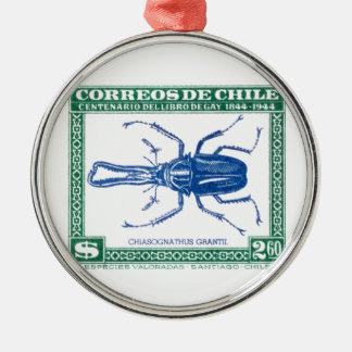 Antiken-Chile-Hirsch-Käfer-Porto-Briefmarke 1948 Rundes Silberfarbenes Ornament
