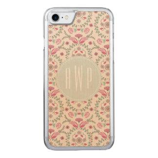 Antiken-inspiriertes rosa und grünes Monogramm Carved iPhone 8/7 Hülle