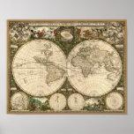 Antiken-Weltkarte 1660 durch Frederick de Wit Plakatdrucke