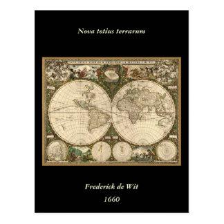 Antiken-Weltkarte 1660 durch Frederick de Wit Postkarte