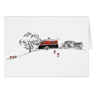 Antiker Camper und Auto Karte