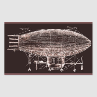 Antiker Franzosen Steampunk Fisch-Luftschiffentwur Rechteckige Aufkleber