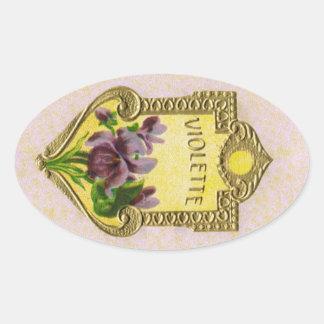 Antiker französischer violetter Parfüm-Aufkleber Ovaler Aufkleber