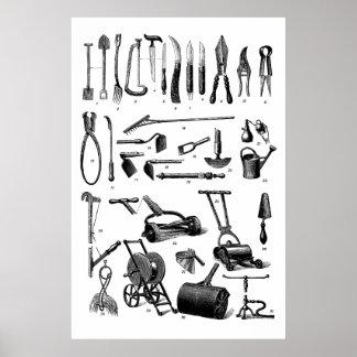 Antiker Gartenarbeit-Werkzeug-Garten-Versorgungs-S Posterdrucke