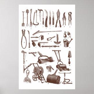 Antiker Gartenarbeit-Werkzeug-Garten-Versorgungs-S Poster
