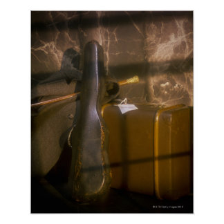 Antiker Gepäck- und Violinenkasten Poster