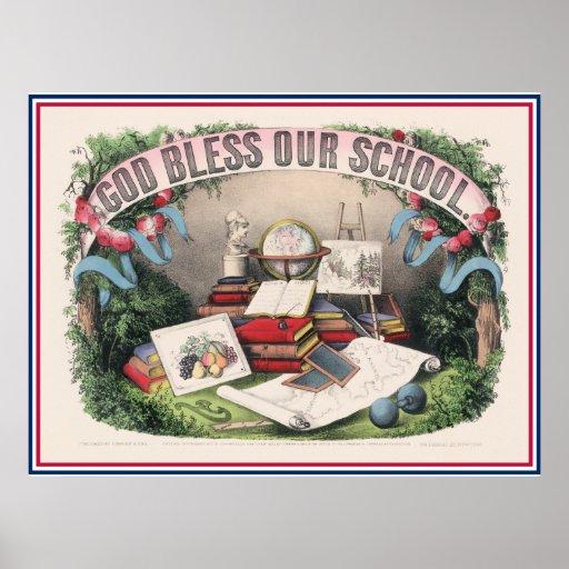 Antiker Gott segnen unsere Schule Plakatdrucke