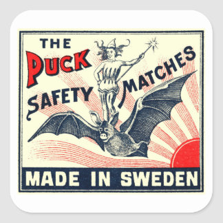 Antiker Kobold-Reitschläger-schwedischer Quadratischer Aufkleber