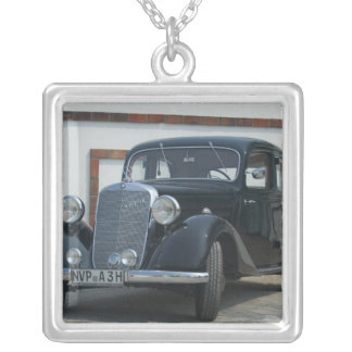antiker Mercedes 3 Halskette Mit Quadratischem Anhänger