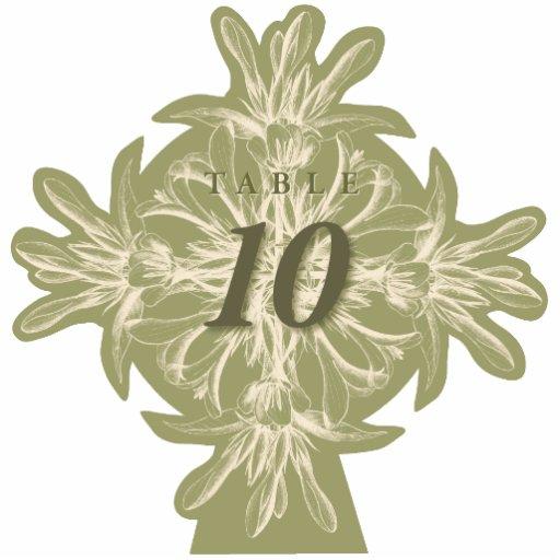 Antiker olivgrüner BlumenTischnummer-Ausschnitt
