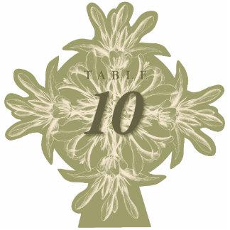 Antiker olivgrüner BlumenTischnummer-Ausschnitt Freistehende Fotoskulptur