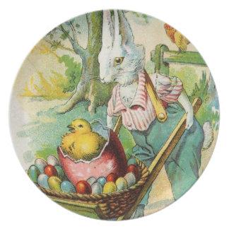 Antiker Ostern-Postkarten-Häschen-Rad-Karren Party Teller