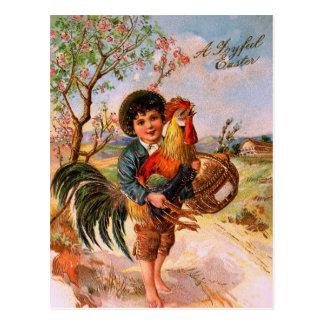 Antiker Postkarten-Ostern-Jungen-Hahn herrlich Postkarte