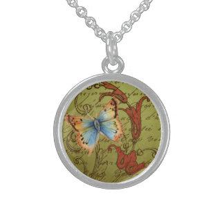 Antiker Schmetterling und Rollen auf französischem Sterlingsilber Halsketten