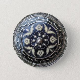 Antiker Schmuck - Blumepin-/broschenknopf Runder Button 5,7 Cm