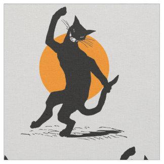 Antiker Tanzen-schwarze Katzen-Vollmond Halloweens Stoff