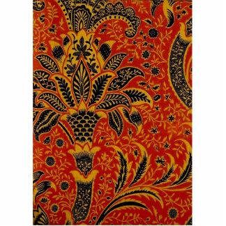 Antiker Textilteppich-rotes Tapeten-Muster Freistehende Fotoskulptur